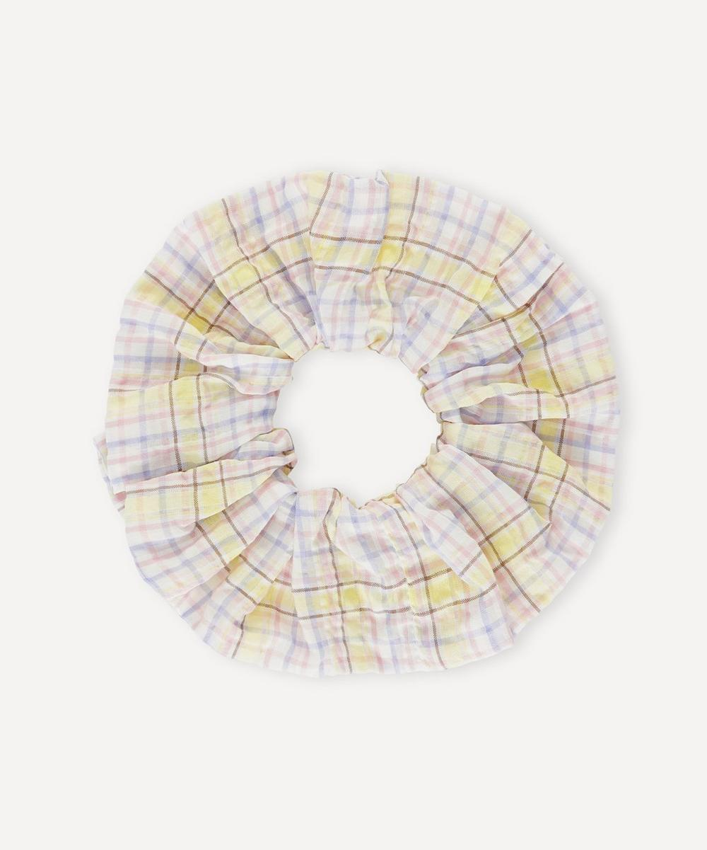Ganni - Seersucker Check Organic Cotton-Blend Scrunchie