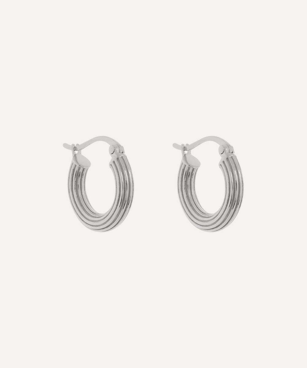 Anna + Nina - Silver Pyramid Ring Hoop Earrings
