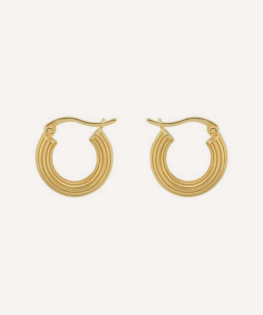Anna + Nina - Gold-Plated Pyramid Ring Hoop Earrings