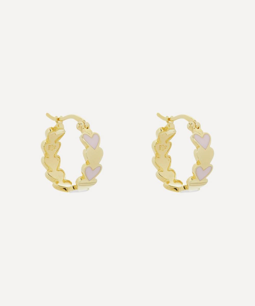 Anna + Nina - Gold-Plated Amor Coloured Enamel Ring Hoop Earrings