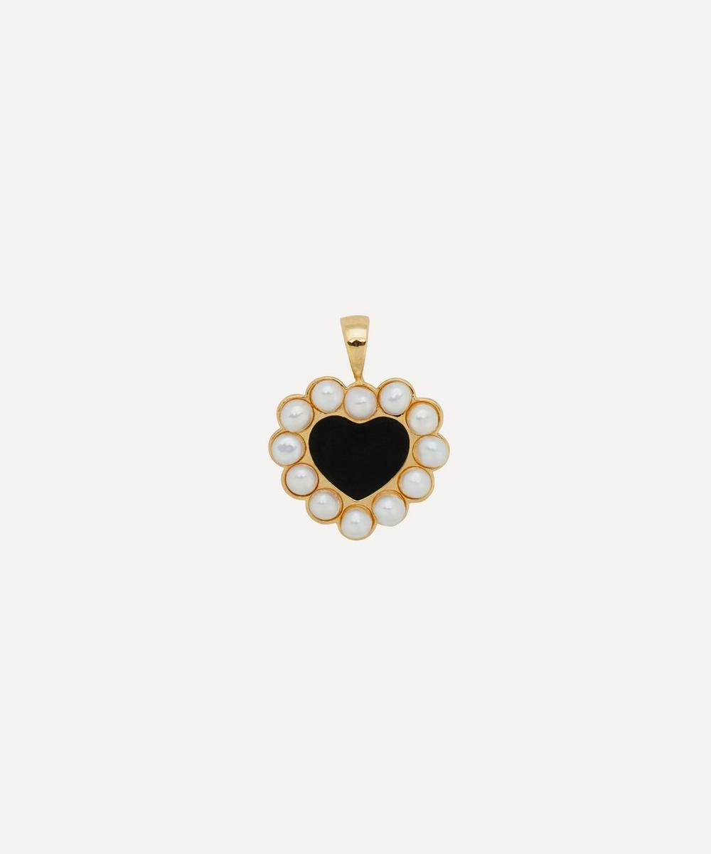 Anna + Nina - Gold-Plated Forbidden Love Enamel and Pearl Heart Necklace Charm