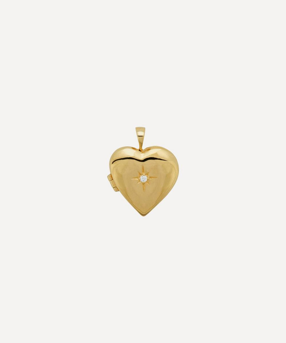 Anna + Nina - Gold-Plated Heart of Gold Zirconia Locket Necklace Charm