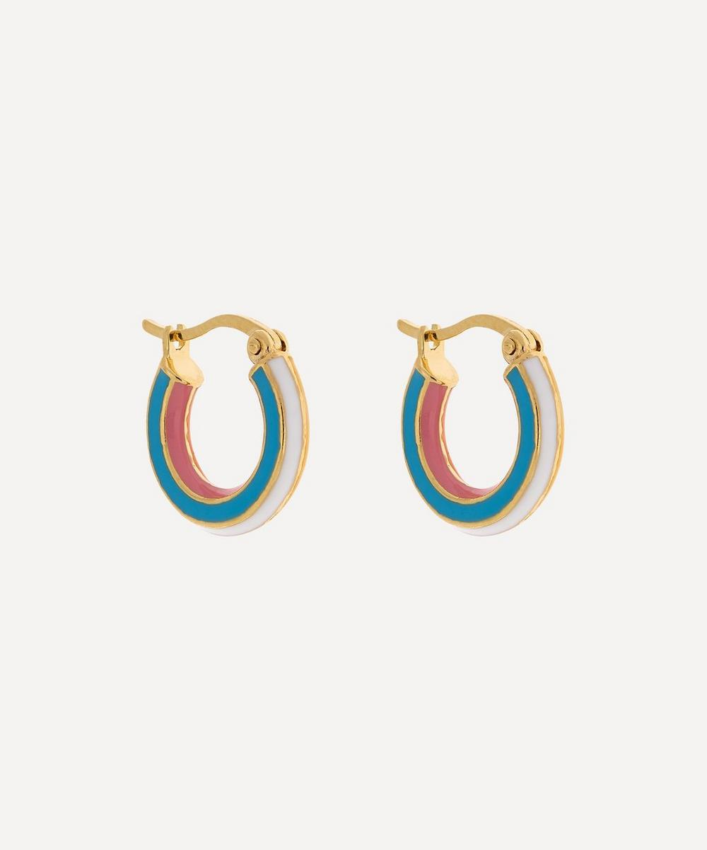 Anna + Nina - Gold-Plated Rainbow Enamel Ring Hoop Earrings