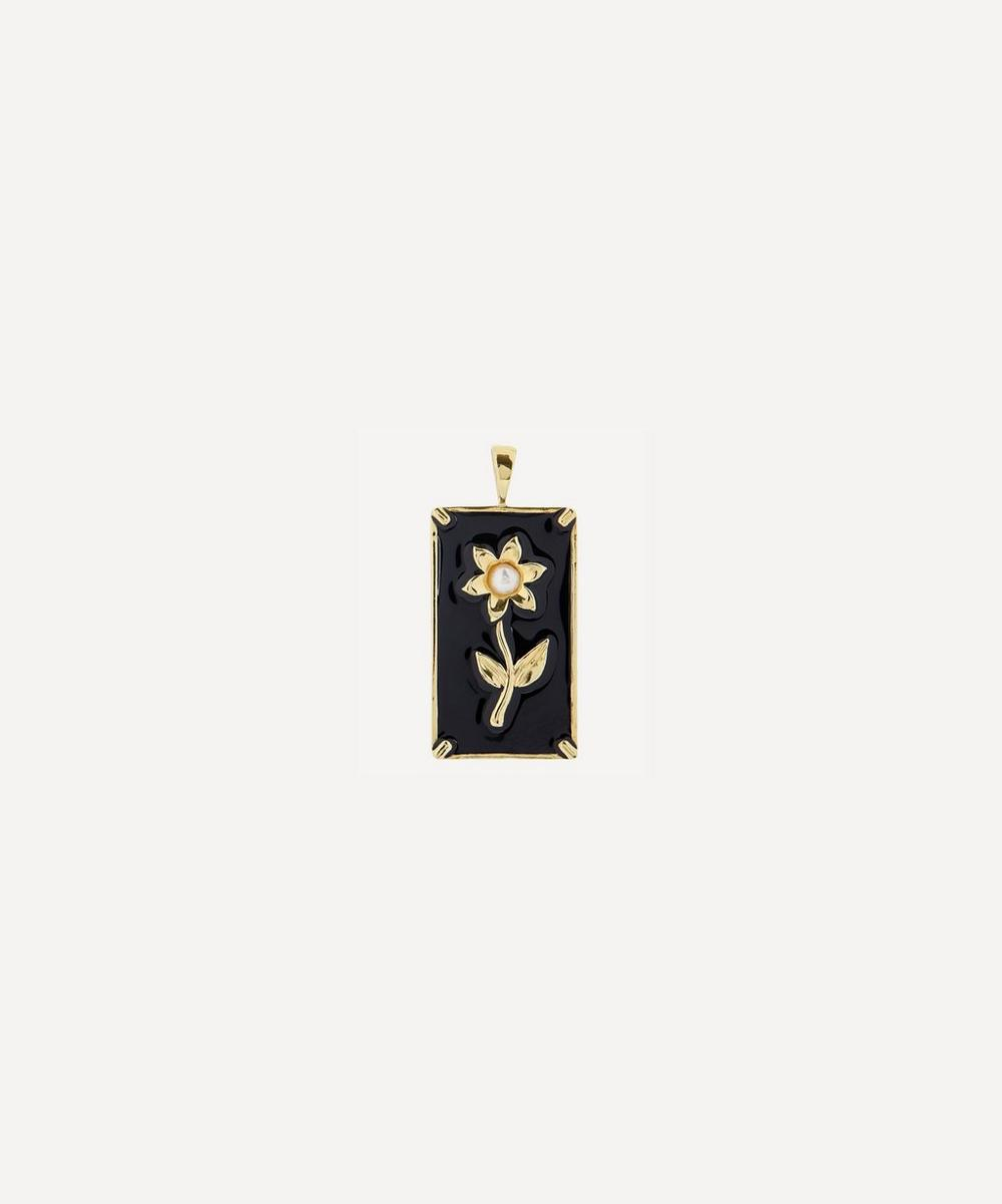 Anna + Nina - Gold-Plated Marigold Flower Enamel and Pearl Necklace Charm