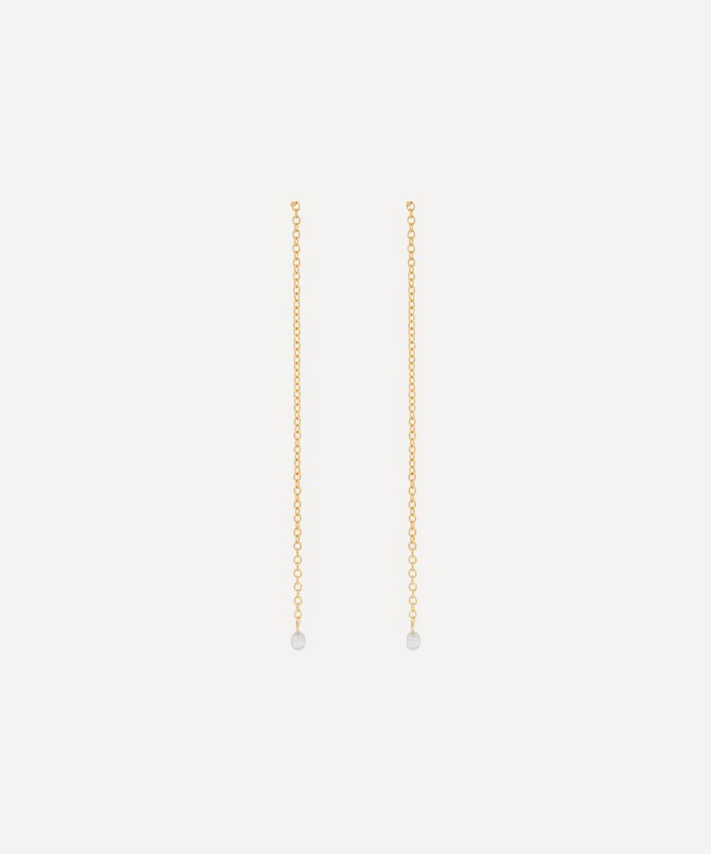 Satomi Kawakita - Gold Diamond Chain Drop Earrings