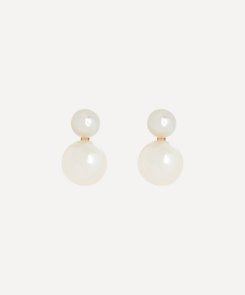 Satomi Kawakita - Gold Pearl Sweetheart Stud Earrings