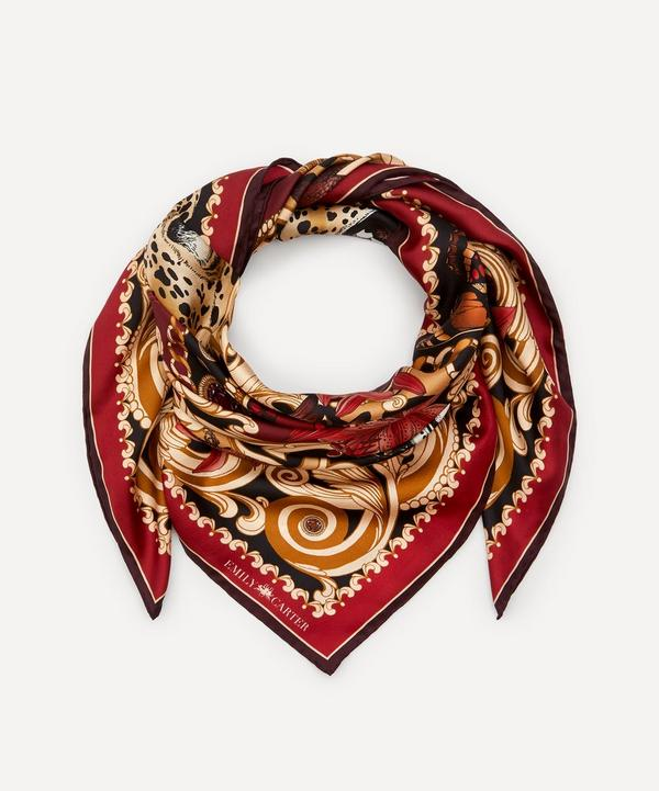 Emily Carter - The Leopard and Ruby Silk Scarf