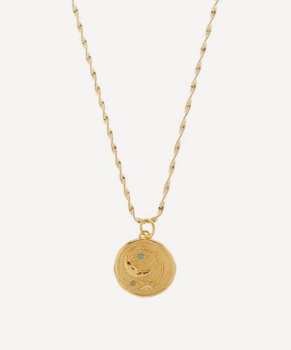 Hermina Athens - Gold-Plated Luna Medusa Clear Zirconia and Turquoise Large Pendant Necklace