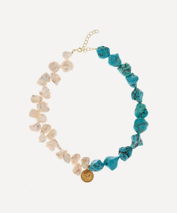 Hermina Athens - Gold-Plated Athéna Pearl and Turquoise Pendant Necklace