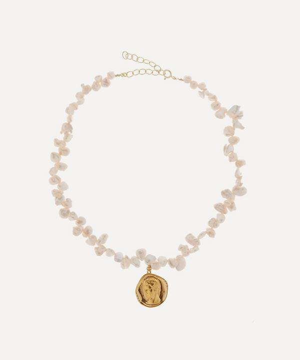 Hermina Athens - Gold-Plated Hermes Lustre Large Pearl Pendant Necklace