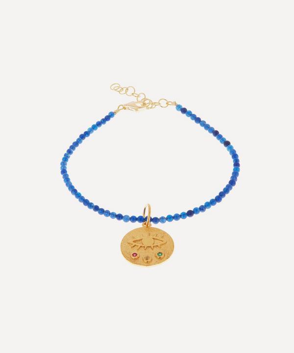 Hermina Athens - Gold-Plated Mini Kressida Blue Jade Beaded Bracelet