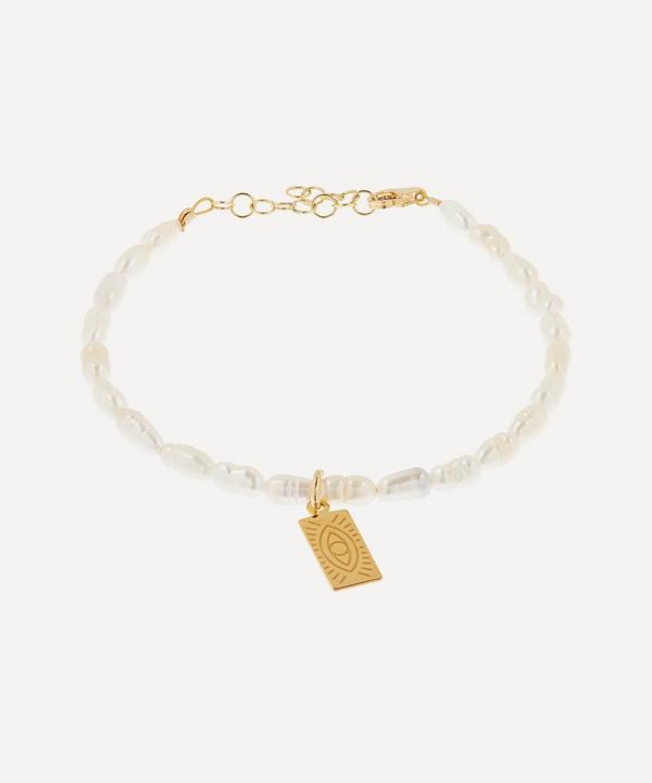 Hermina Athens - Gold-Plated Hermina Tag Pearl Bracelet