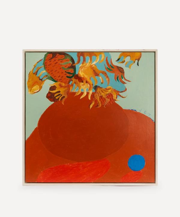 Jack Tierney - Sunflowers with Blue Orange Original Framed Painting
