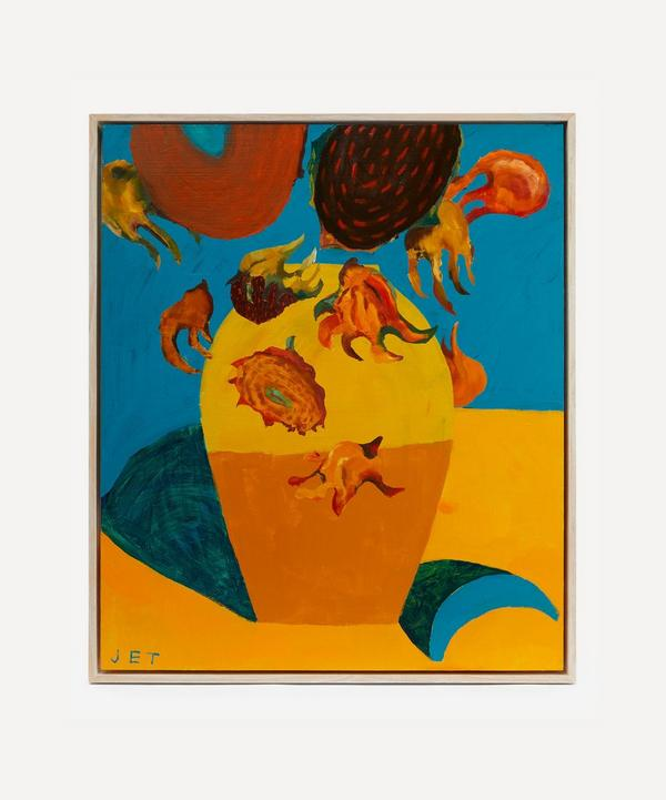 Jack Tierney - Sunflowers with Blue Banana Original Framed Painting