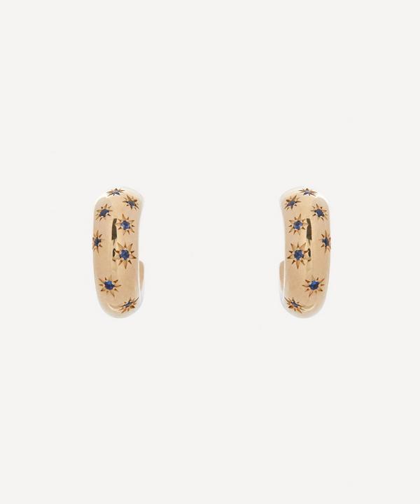 Liberty - Gold Handmade Ianthe Star Blue Sapphire Hoop Earrings