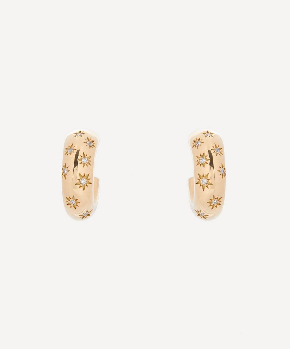 Liberty - Gold Handmade Ianthe Star Diamond Hoop Earrings