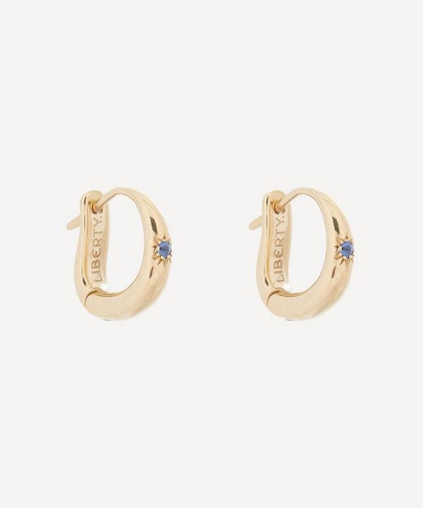 Liberty - Gold Handmade Ianthe Star Single Blue Sapphire Huggie Hoop Earrings