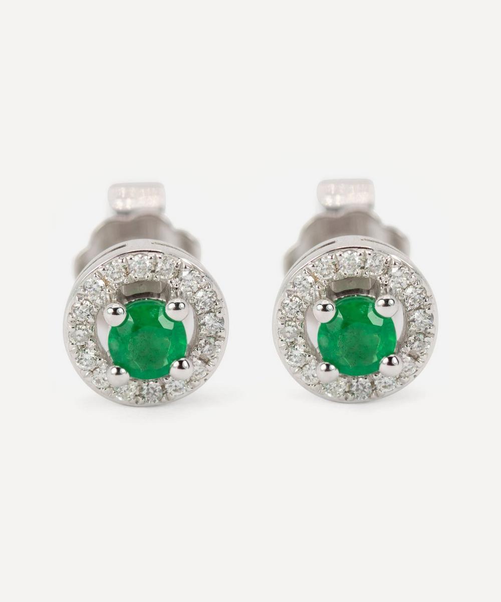 Kojis - White Gold Emerald and Diamond Cluster Stud Earrings