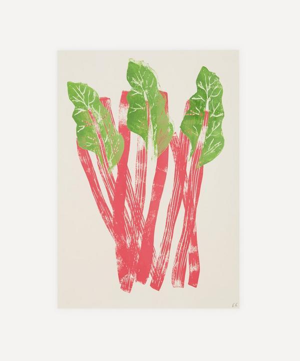 Ellie Edwards - Rhubarb Unframed A4 Lino Print
