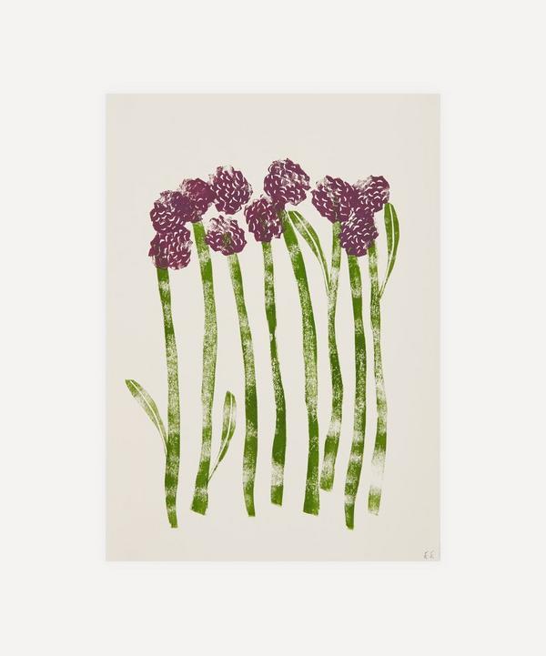 Ellie Edwards - Purple Sprouting Broccoli Unframed A4 Lino Print