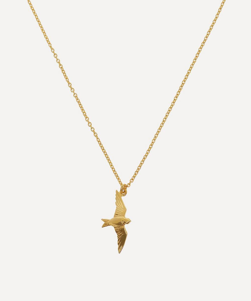 Alex Monroe - Gold-Plated Flying Swallow Pendant Necklace