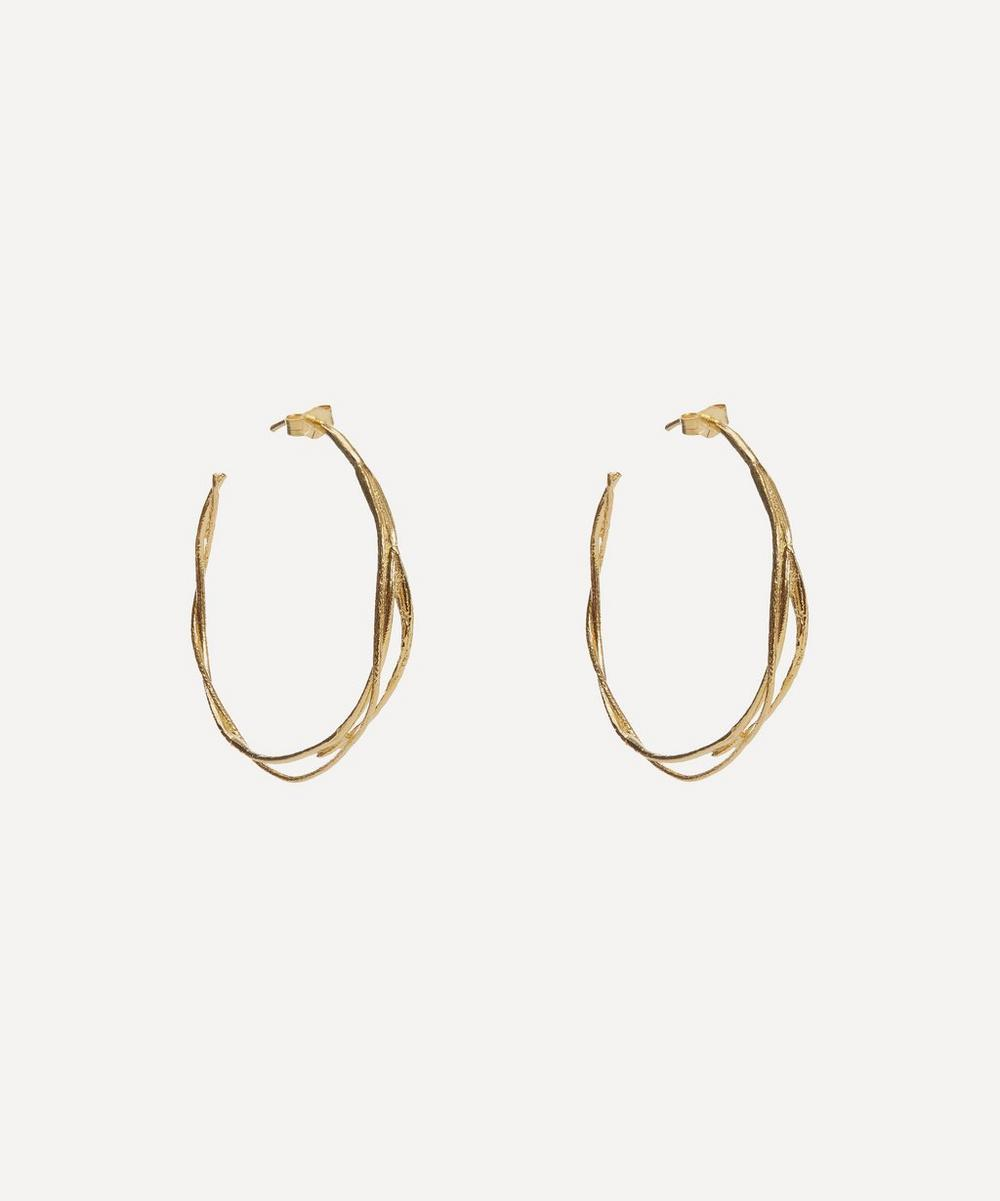 Alex Monroe - Gold-Plated Fine Twist Hoop Earrings