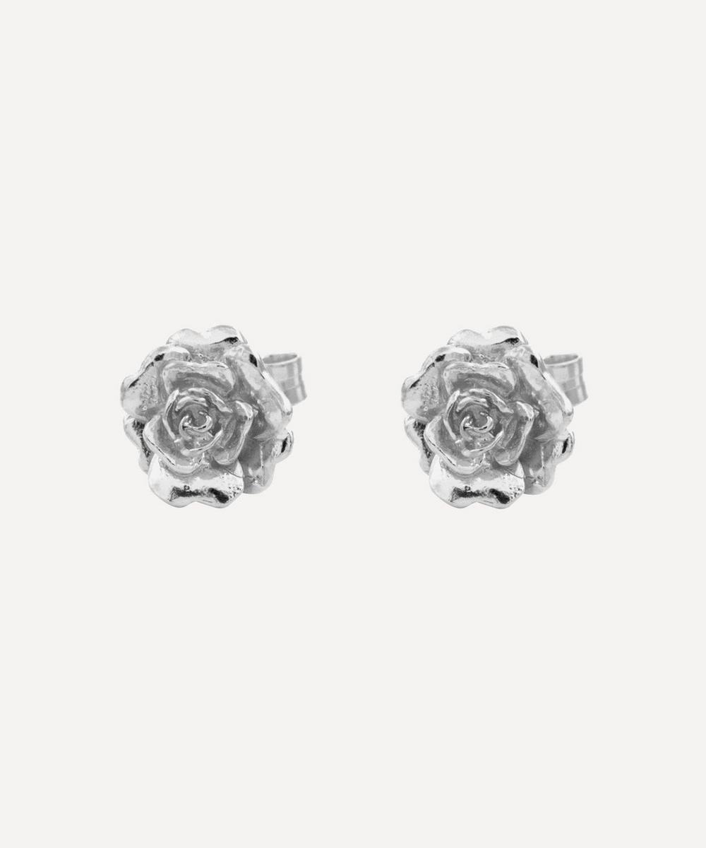 Alex Monroe - Silver Rose Damasca Stud Earrings