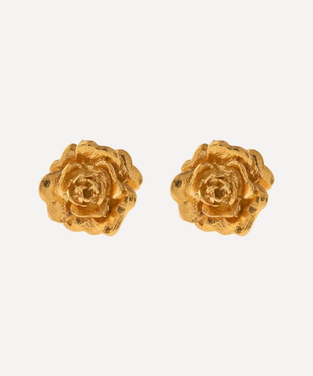 Alex Monroe - Gold-Plated Rose Damasca Stud Earrings