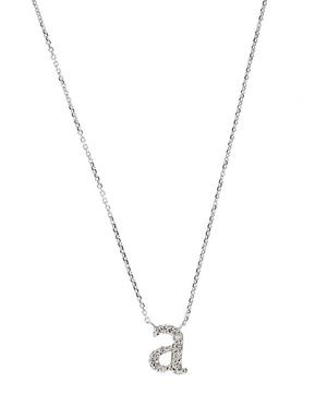 White Gold Diamond Letter A Necklace