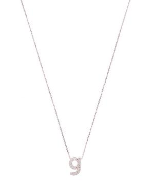 White Gold Diamond Letter G Necklace