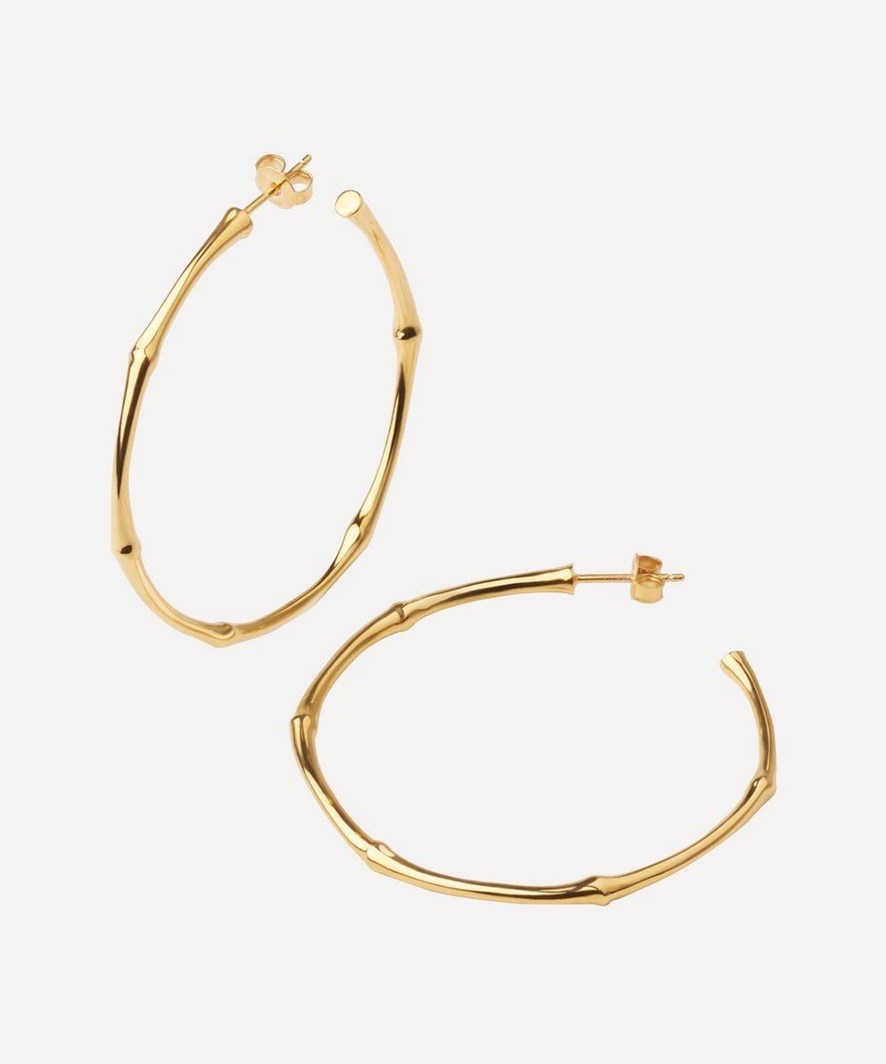 Dinny Hall - Gold-Plated Vermeil Large Bamboo Hoop Earrings