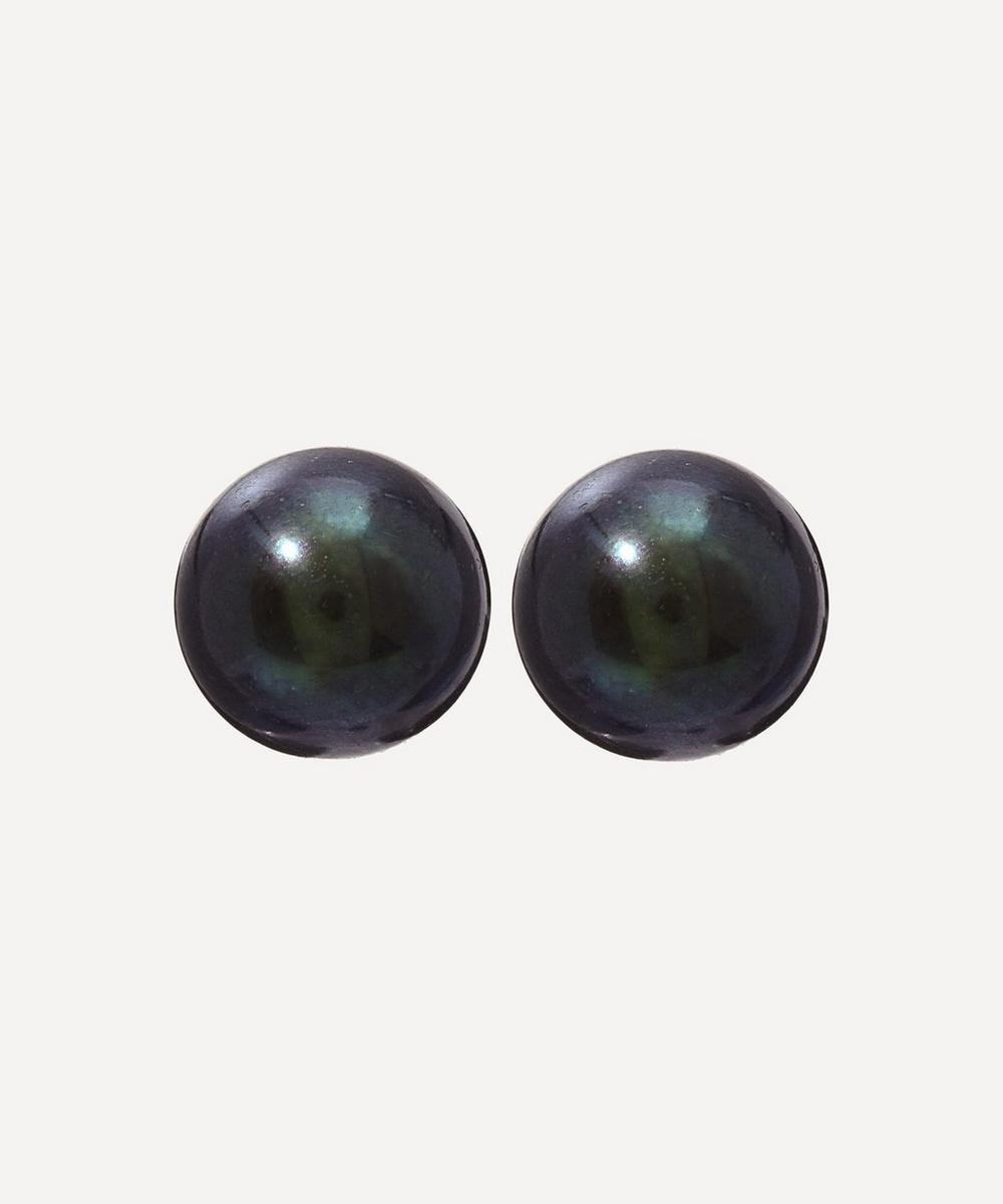 Kojis - Gold Black Pearl Stud Earrings