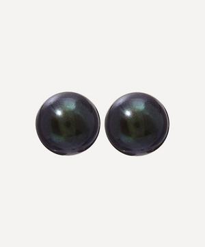 Gold Black Pearl Stud Earrings