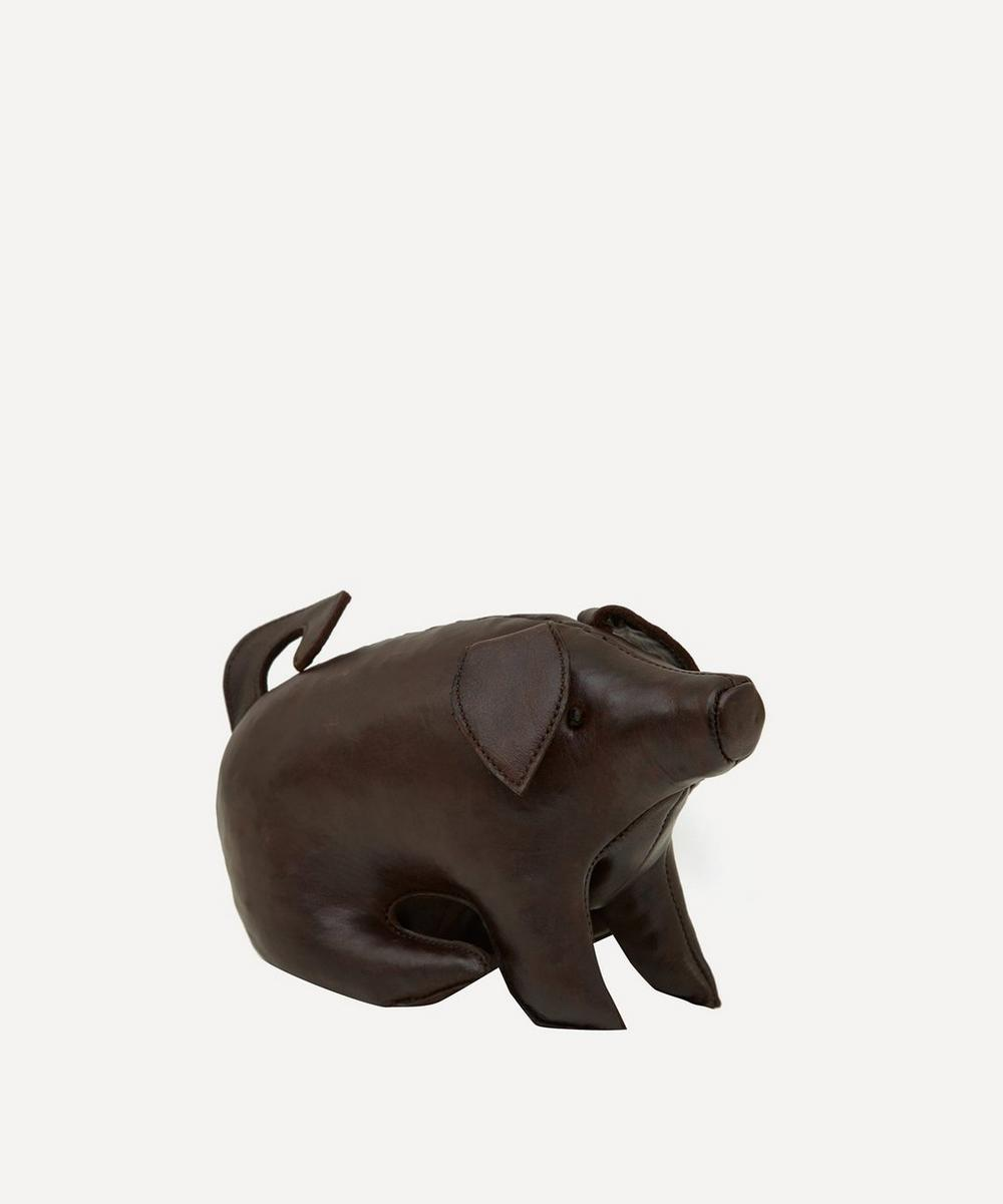Omersa - Miniature Leather Sitting Pig