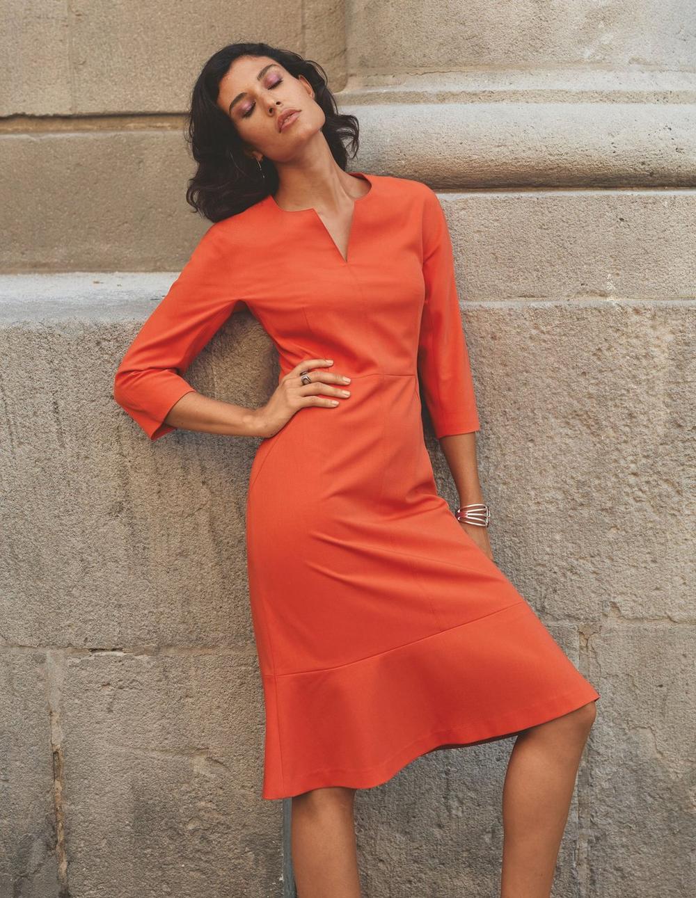 Kleid mit 9/9 Ärmeln und Volant, papaya, orange   MADELEINE Mode