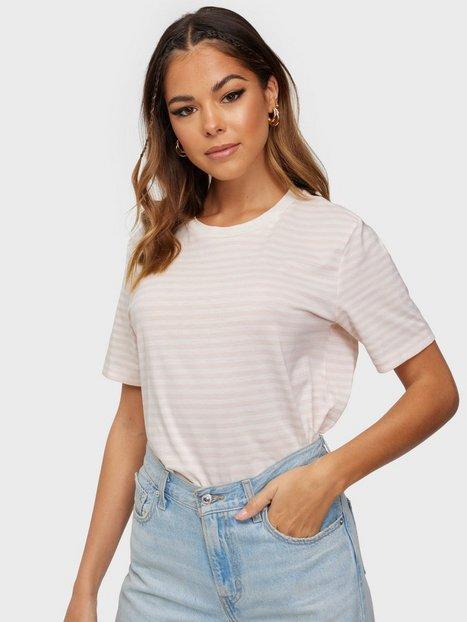Selected Femme Slfmy Perfect Ss Tee Box Cut-Stri B T-shirts Primrose Pink Snow White