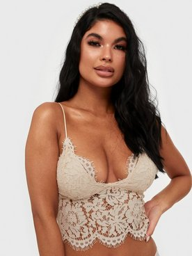 Pieces Pcaura Strap Cropped Lace Top Bc Bandeau & Soft-Bra Offwhite