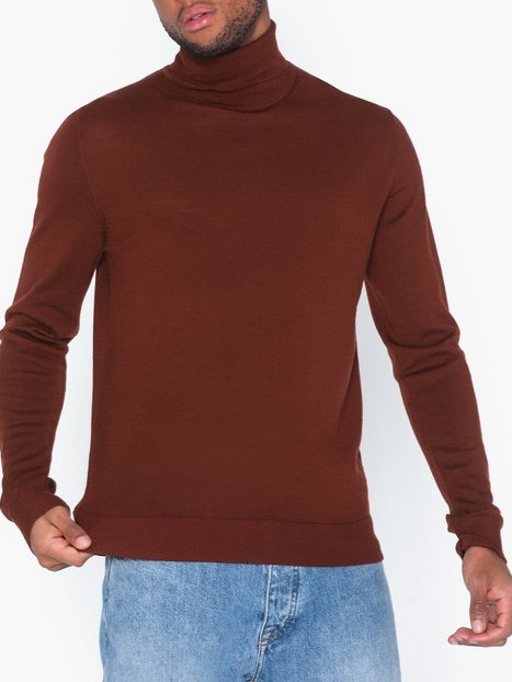 Premium by Jack Jones Jprmark Merino Knit Roll Neck Trøjer Mørkebrun - herre