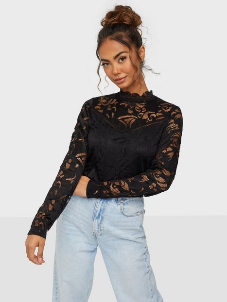 Vila Vistasia L/S Lace Top-Noos Festbluser Sort