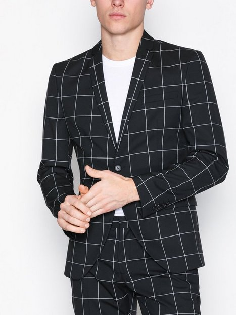Selected Homme Shdzero Jet Grid Black Check Blazer Blazere jakkesæt Sort - herre