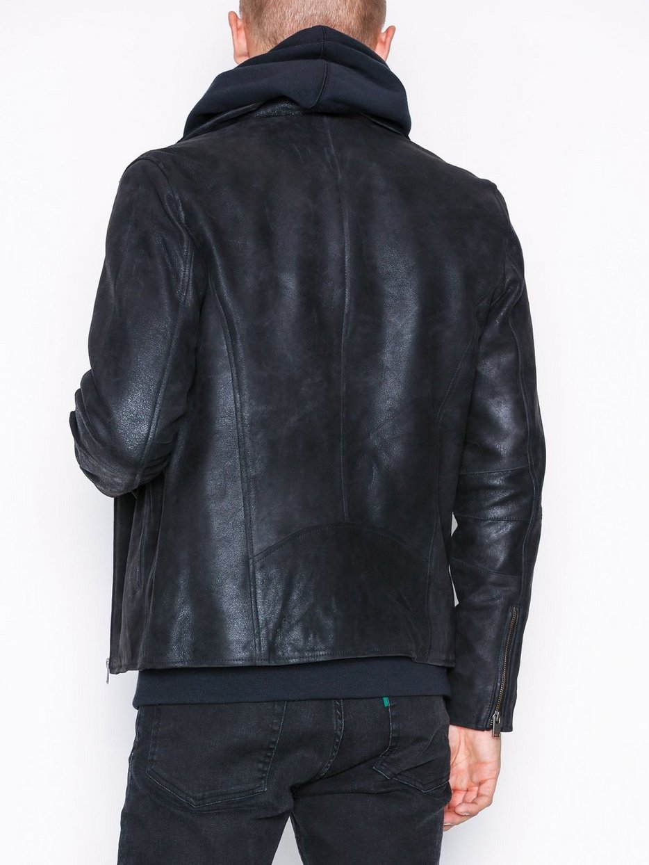 SLHRAY LEATHER/WOOL BIKER JKT  W