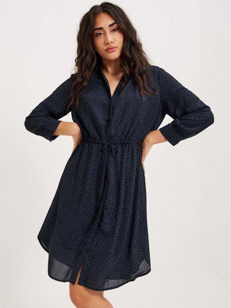 Selected Femme Slfdamina 7/8 Aop Dress B Noos Langærmede kjoler Dark Sapphire Silver Dot Print