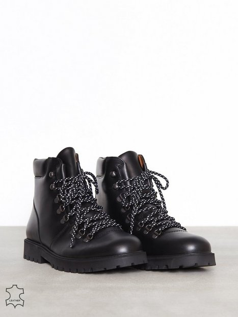 Selected Homme Slhisaac Leather Hiking Boot W Støvler Sort - herre