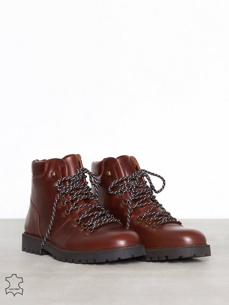 Selected Homme Slhisaac Leather Hiking Boot W Støvler Chocolate - herre