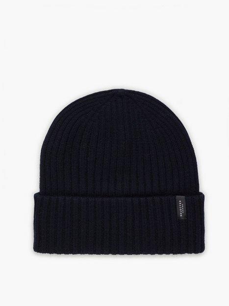 Selected Homme Slhmerino Wool Beanie W Huer Blå mænd køb billigt