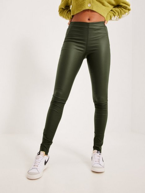 Se Object Collectors Item Objbelle Mw Coated Leggings Noos Leggings ved Nelly