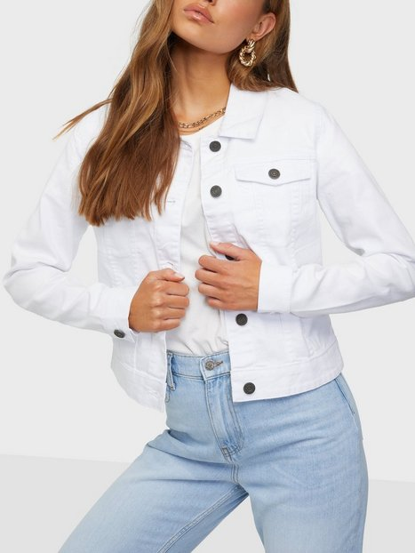 Noisy May Nmdebra L/S White Denim Jacket Clr Denimjakker