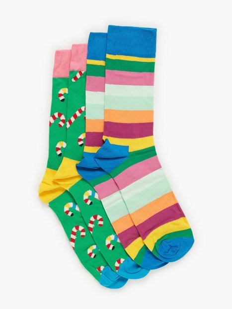 Happy Socks Christmas Cracker Candy Cane Gift Box Strømper Mønstret - herre