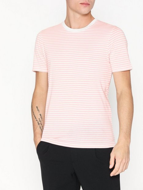 Selected Homme Slhtheperfect Stripe Ss O Neck Tee T shirts undertrøjer Lys Rosa - herre