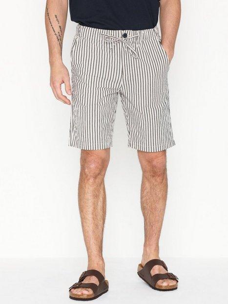Selected Homme Slhtapered Bradly Seersucker Shorts Shorts Bone White - herre
